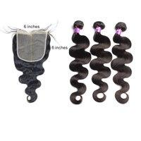 Объемная волна человеческие волосы пучки с 6X6 закрытие пучки волос Remy кружева закрытие 3 шт Натуральные Цветные наращивания волос VENVEE