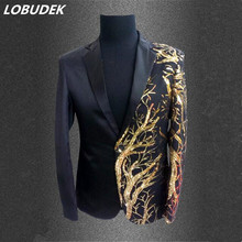 singer blazer Male formal dress costume men's clothing paillette suits clothes for dancer star performance nightclub party bar