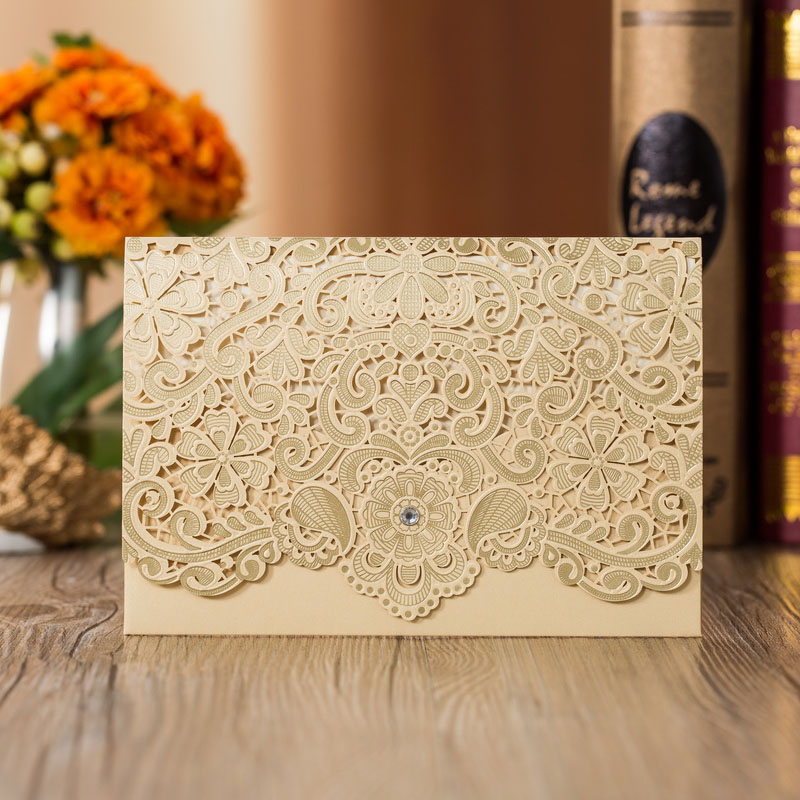 1pcs Sample Gold Red Laser Cut Luxury Flora Wedding Invitations Card Elegant Diamond Lace Favor Wedding Event & Party Supplies (3)
