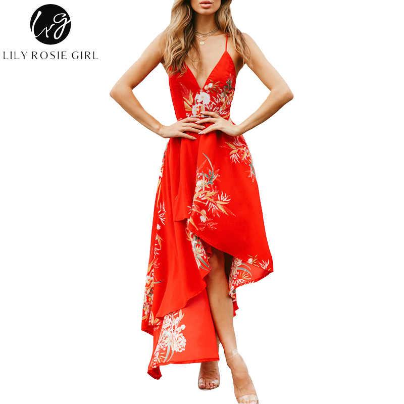 3792df52df8b0 Lily Rosie Girl Sexy Asymmetrical Long Dresses Women 2018 Summer Beach Boho  Dress Backless Sleeveless Female Maxi Dress Vestidos
