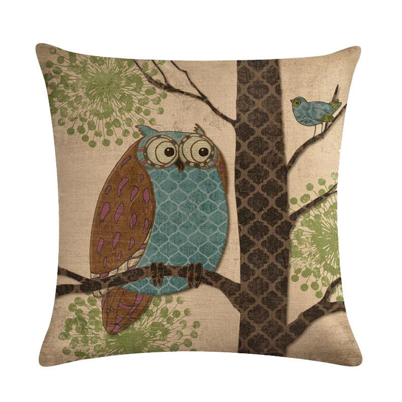 45cm*45cm Retro owl linen/cotton cushion cover and sofa pillow case Home decorative pillow cover