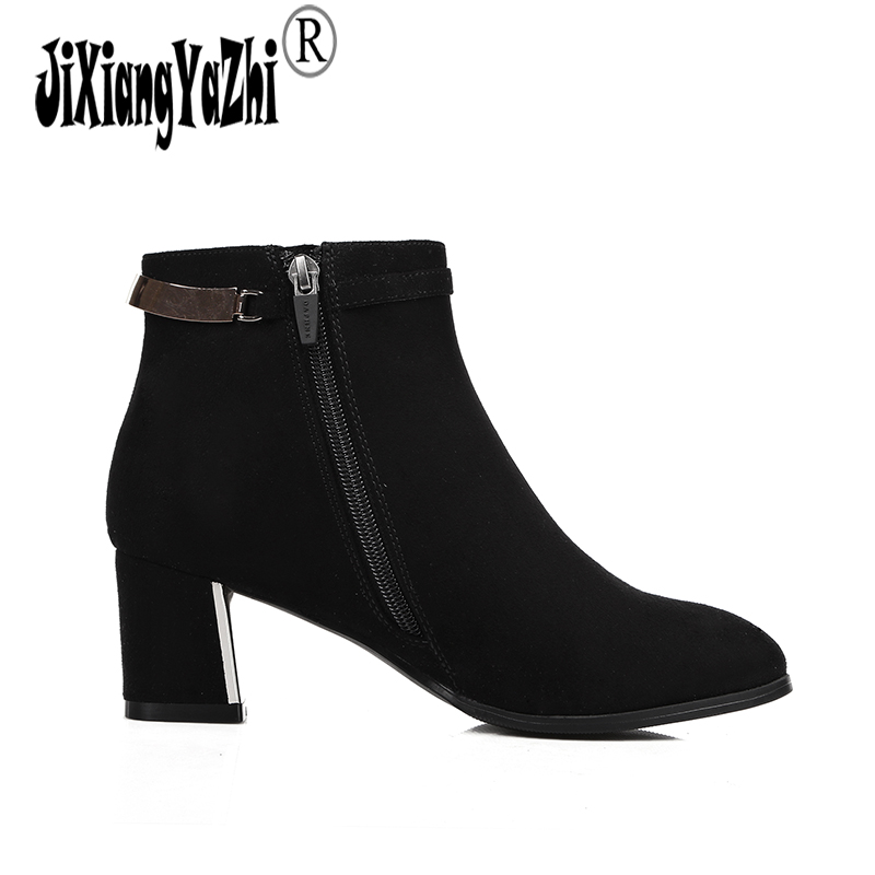 JIXIABGYAZHI Brand 2018 Winter Fashion Pu Boots Pointed-toe High Zip Butterfly-knot Buckle Ankle Western Womens Shoes # A-092