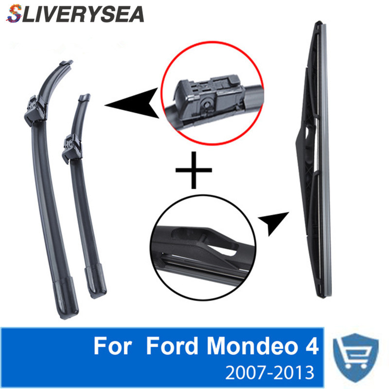 SLIVERYSEA Front and Rear Wiper Blade no Arm For Ford Mondeo 4 Estate 2007 2013 High quality Natural Rubber windscreen 26 39 39 19 39 39 in Windscreen Wipers from Automobiles amp Motorcycles