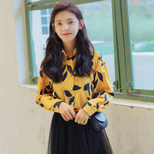 2019 New Long Sleeve Lapel Blouse Vintage Leaf Printed Shirts Women Good Quality Cotton Loose Casual Tops Blusa Feminina