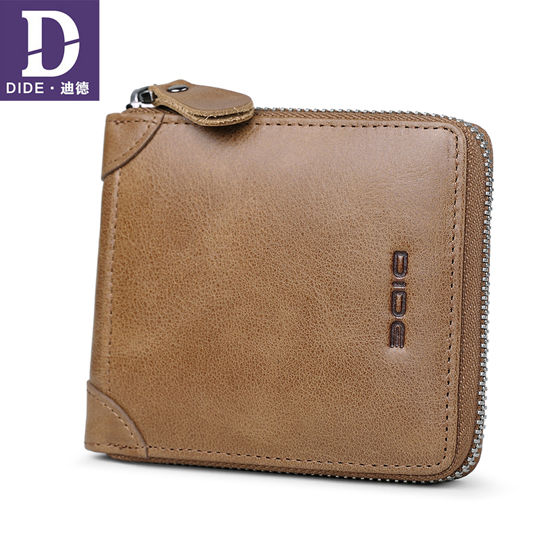 DIDE Short Wallet Male Card-Holder Coin-Purse Zipper Cowhide Genuine-Leather Vintage