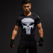 Kurzarm 3D T Hemd Männer T-Shirt Männlichen Crossfit T Captain America Superman t-shirt Männer Fitness Kompression Shirt Punisher MMA(China)