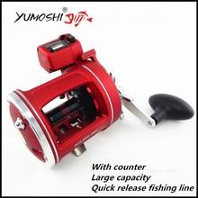 Yumoshi 12 rodamientos left right hand profundo carrete de agua salada carrete de pesca en barco alrededor con contador de jigging fihsing trolling carretes