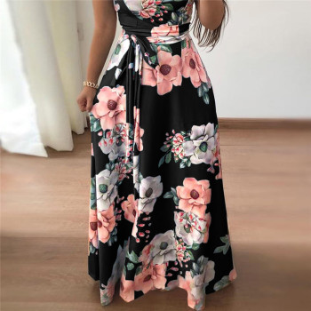 Women Summer Dress 2019 Casual Short Sleeve Long Dress Boho Floral Print Maxi Dress Turtleneck Bandage Elegant Dresses Vestido 1