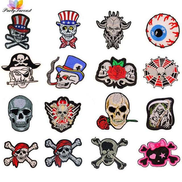 Mezclado cráneo parche ropa diy flores esqueleto punky bordado ...