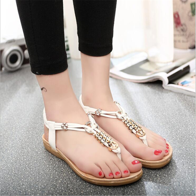 POADISFOO 2017 New  fashion summer pu cross  ring with beads sandals soft  comfy  women's  flat with beads  For Women .HYKL-528