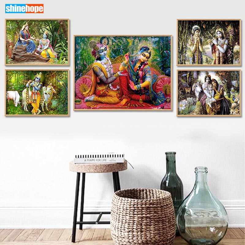 Radha Krishna Poster Custom Canvas Poster Art Home Decoration Cloth Fabric Wall Poster Print Silk Fabric 30X45cm40X60cm