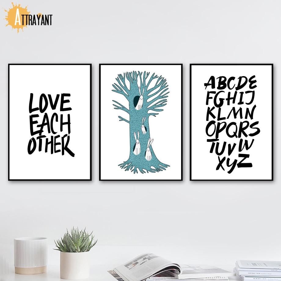 Alfabeto árbol agujero conejo pared arte lienzo pintura carteles y ...