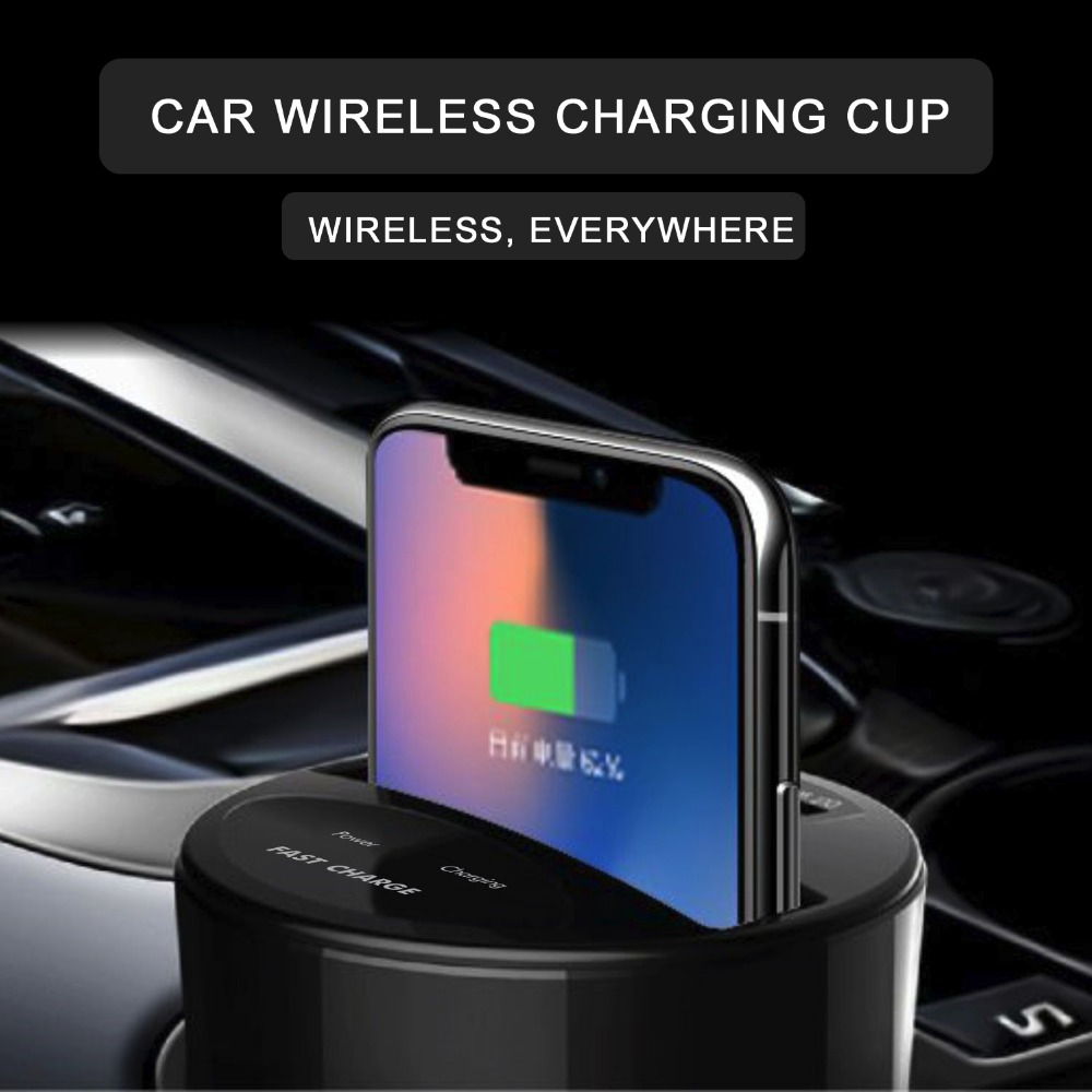New Qi Wireless Car Charger Car Water Cup For Iphone 8 X