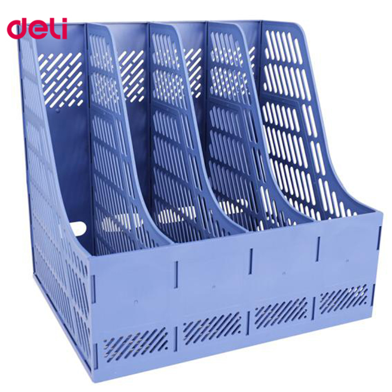 Deli 1pcs document trays file box functional file organizer 4 cases desktop storage file folder with label 9848 in File Tray from Office School Supplies