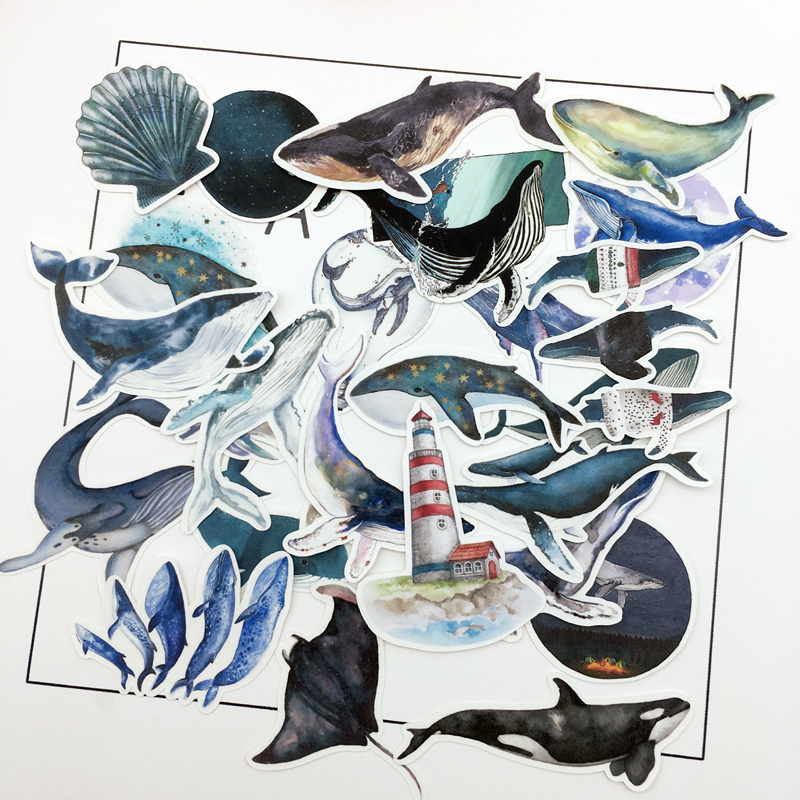28pcs water color Deep sea blue whale sticker Planner Scrapbooking DIY Dry Glue Dolphin Sticker28pcs water color Deep sea blue whale sticker Planner Scrapbooking DIY Dry Glue Dolphin Sticker