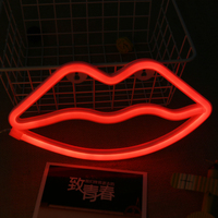 Red Lips Christmas Tree Neon Night Light Lamp Strip Battery USB Operated Wall Hanging Light Home