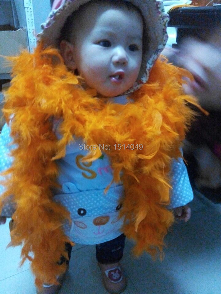 Free shipping wholesale 5pcs high quality Turkey feathers 2m long Feather boa Decorative orange