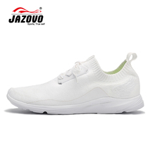 2016 JAZOVO Running Shoes Light air Mesh Outdoor Sports Black White Jogging Sneakers For Woman Flat Walking Trend Shoes 36-39