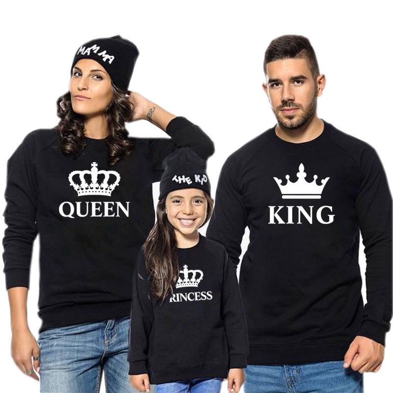 LILIGIRL King Queen Crown Print Family Matching Outfit Leisure Sweatshirt T-shirt Father Mommy And Me Clothes