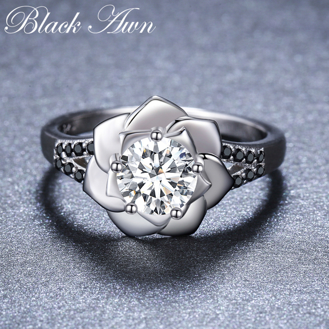 [BLACK AWN] 925 Sterling Silver Ring Female Bague Flower Trendy Wedding Rings for Women Sterling Silver Jewelry G073 2