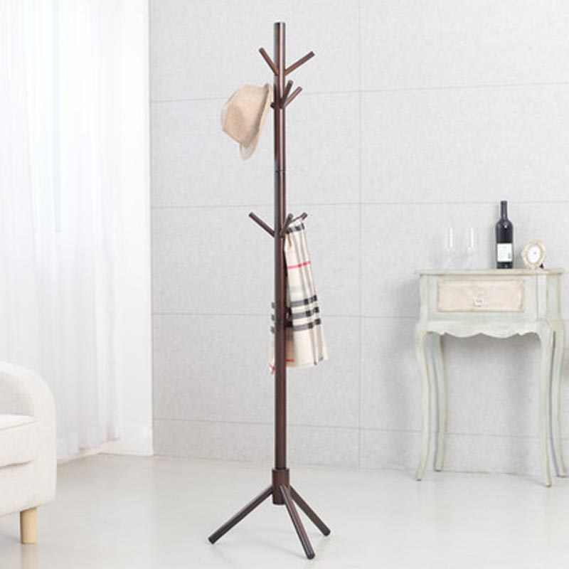Premium Bamboo Coat Rack Free Standing With 9 Hooks Wood Tree Coat Rack Stand For Coats Hats Scarves Clothes Handbags