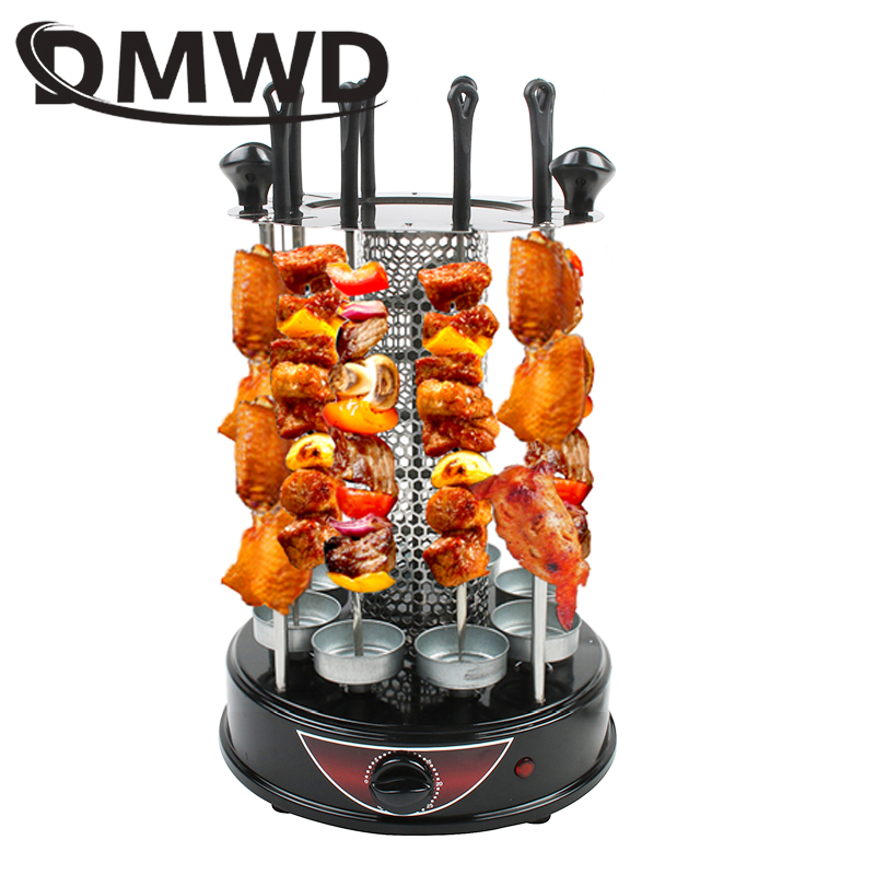 DMWD Smokeless Automatic Rotary Electric BBQ Grill Oven Barbeque Rotisserie Kebab Roast Rotation Machine 8 Lamb Skewers EU US 1pc burn oven home electric automatic rotation roast chicken bbq grill automatic electric rotisserie