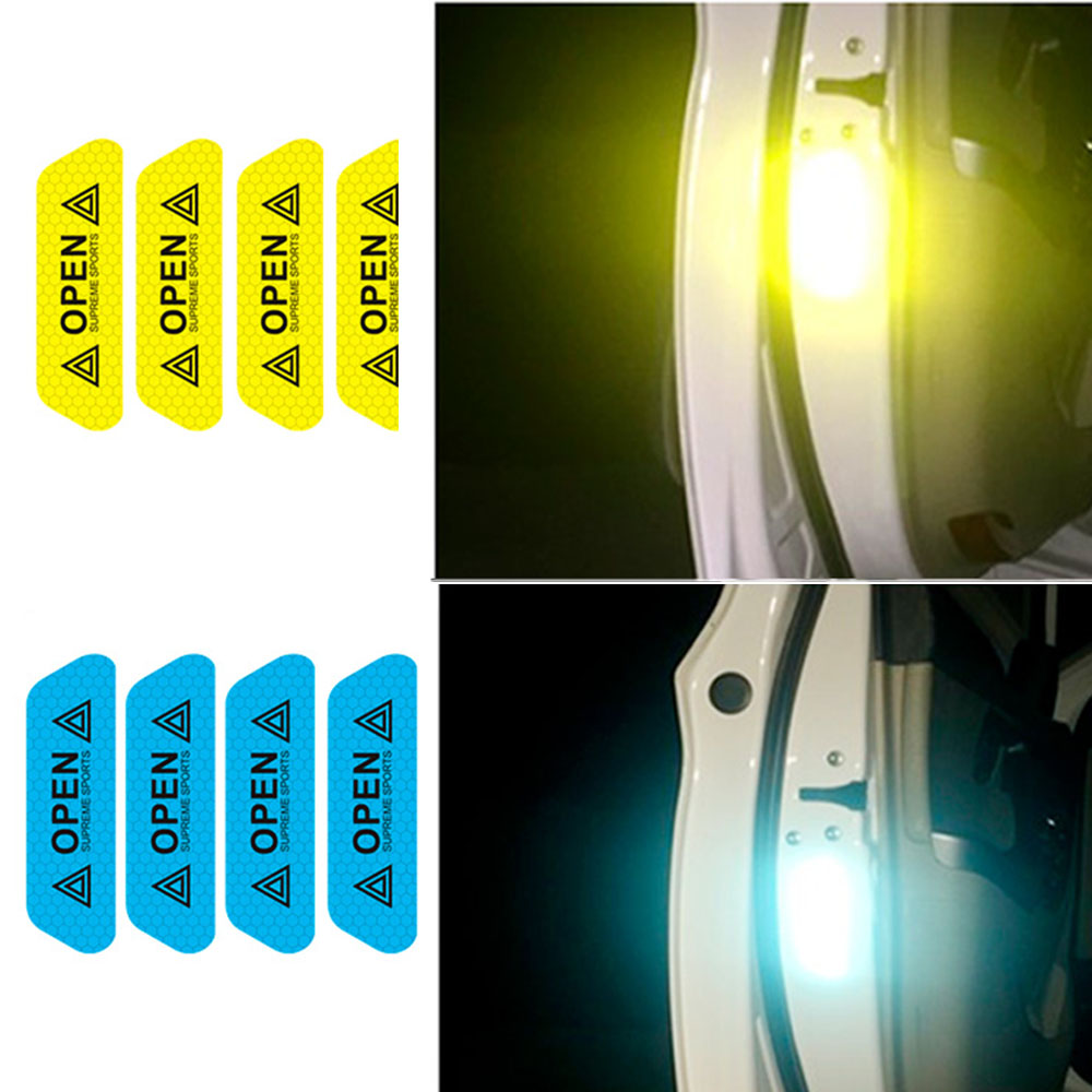 Newest 4Pcs Warning Mark Reflective Tape Universal Exterior Accessories Car Door Stickers OPEN Sign Safety Reflective Strips