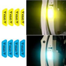 Новые 4 шт предупреждающий знак светоотражающие ленты Универсальный Внешние аксессуары для автомобиля двери наклейки открытым знак безопасности Светоотражающие Полоски