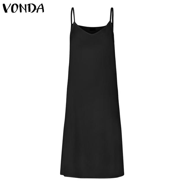 VONDA White Dress Summer Casual Sleeveless Vest Lining Dresses Plus Size Sexy V Neck Spaghetti Strap Dress Party Vestidos 5XL