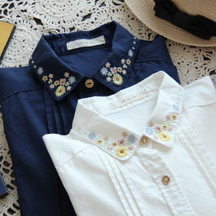 ropa las manga La camisas en flores y 2 colores Mujer bordadas en camisa de blanca mujeres de de blusa camisa Blusas vintage femenina larga qW81HU