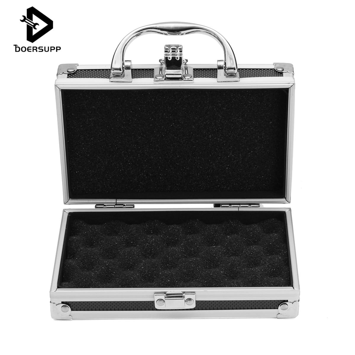Doersupp Aluminium Alloy Tool Box Portable Small Handle Storage Suitcase Travel Luggage Organizer Case Handheld Organizer