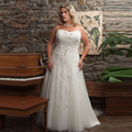 2017 Plus Size Wedding Dresses  A Line Beaded Lace Appliques Court Train  Tulle Women Bridal Gowns for Bride vestido de noiva