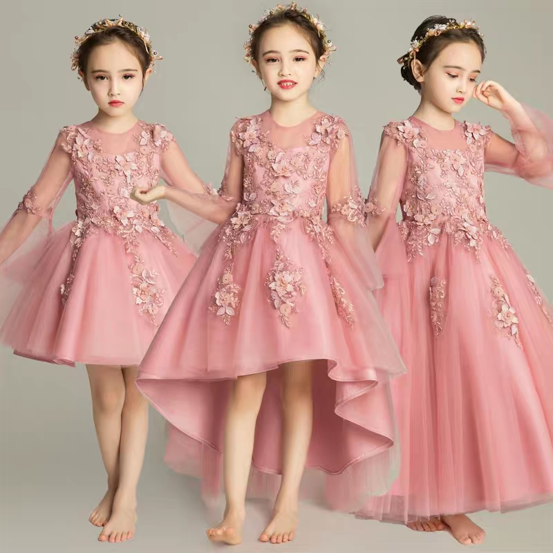 2018 New Elegant Girls Children Evening Wedding Birthday Party Flowers Princess Dress Kids Baby Puffy Model Show Prom Lace Dress 2017 new high quality girls children white color princess dress kids baby birthday wedding party lace dress with bow knot design