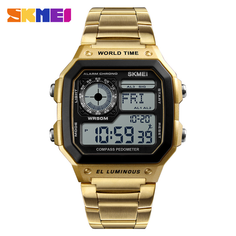 2018 Top Brand <font><b>SKMEI</b></font> Women Men Digital Watch Luxury Calorie Compass Electronic Watch Fashion Sport Bracelet LED dispiay Clock image