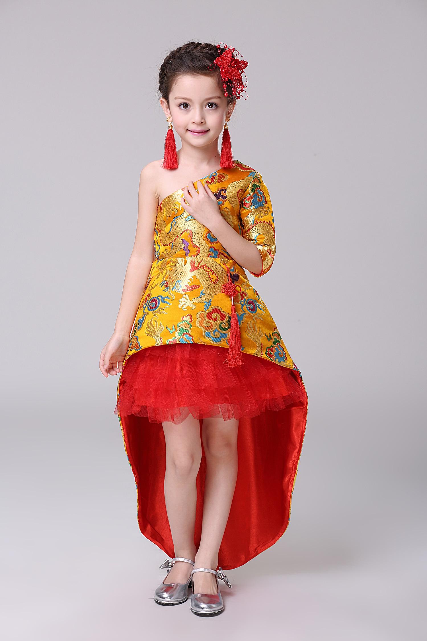 Enfants Flamenco robe fille princesse robe enfants traînant jupes chinois traditionnel robe Cheongsam étudiant enfants danse porter