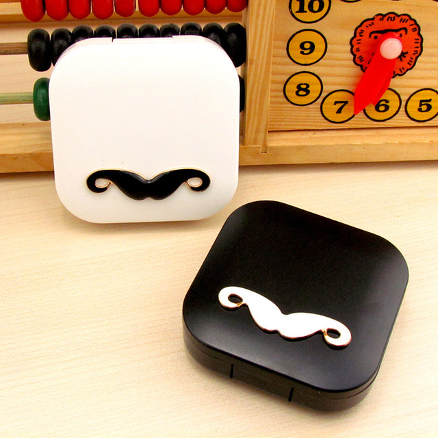 d20ba7475fa Mustache Cosmetic Contact lens case with mirror colored contact lens case  cute Lovely Travel box Eyewear Accessories