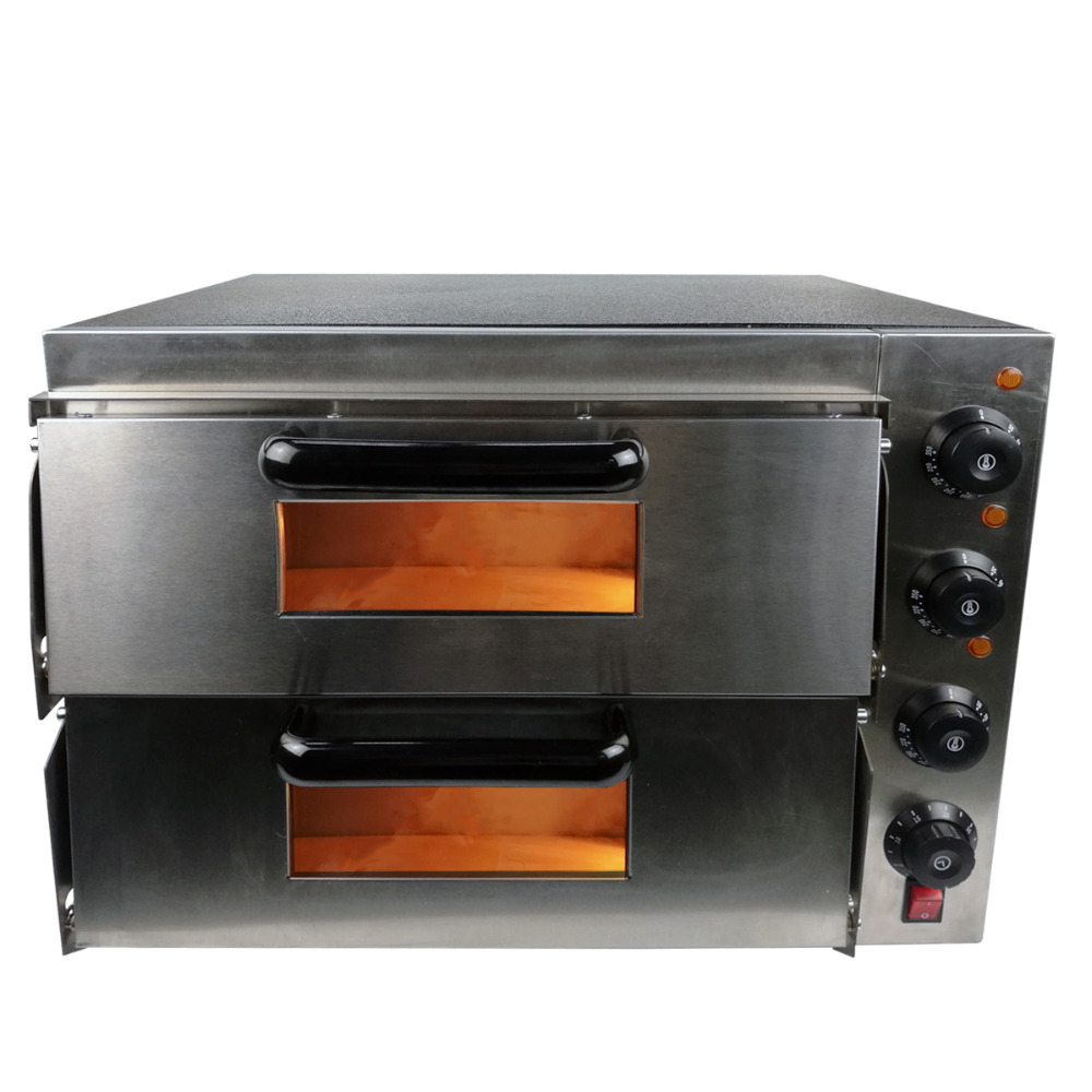 Hot sale Electric Pizza Baking Bakery Oven with timer for commercial use for making bread, cake, pizza 3000w stainless steel commercial electric pizza oven with timer 2 layer making bread pizza cake baking oven