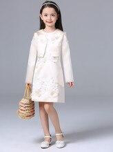 Европа мода стиль девушки одежду цветок комплект одежды девушка 2 шт. юбка костюм сатинировки детский костюм