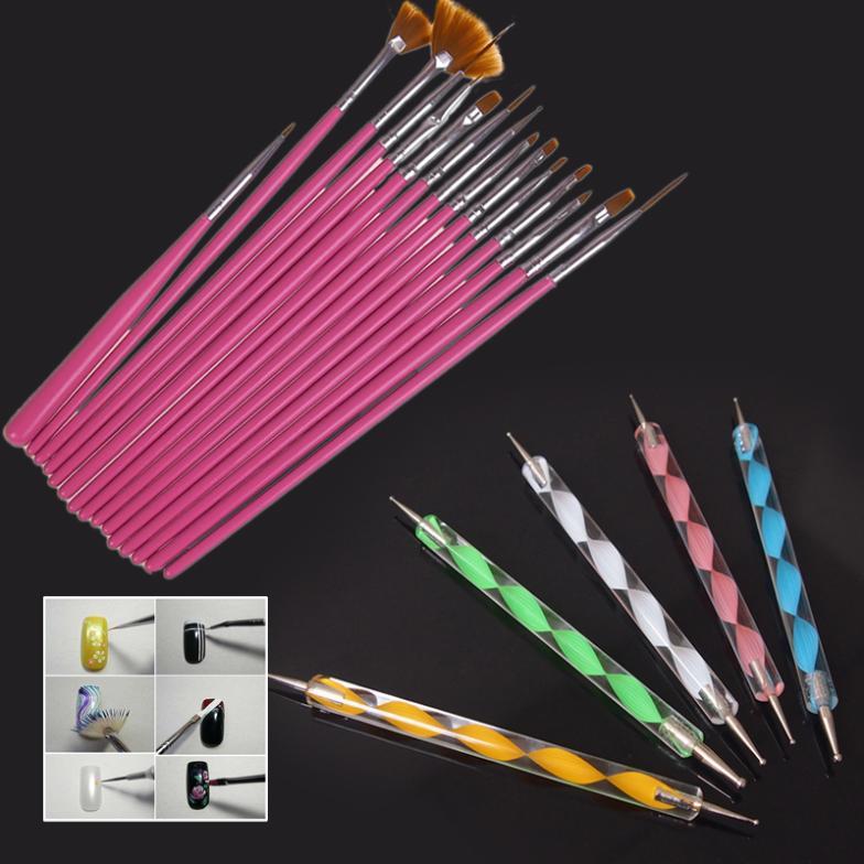 Colorful Holder Acrylic Nail Art Brush Pens Set Design Painting
