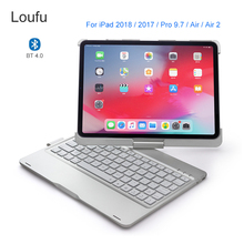 Loufu 360 Degrees Bluetooth Keyboard For iPad 2018 Case Air 2 Cover 7 Colors Backlit Pro 9.7 Tablet