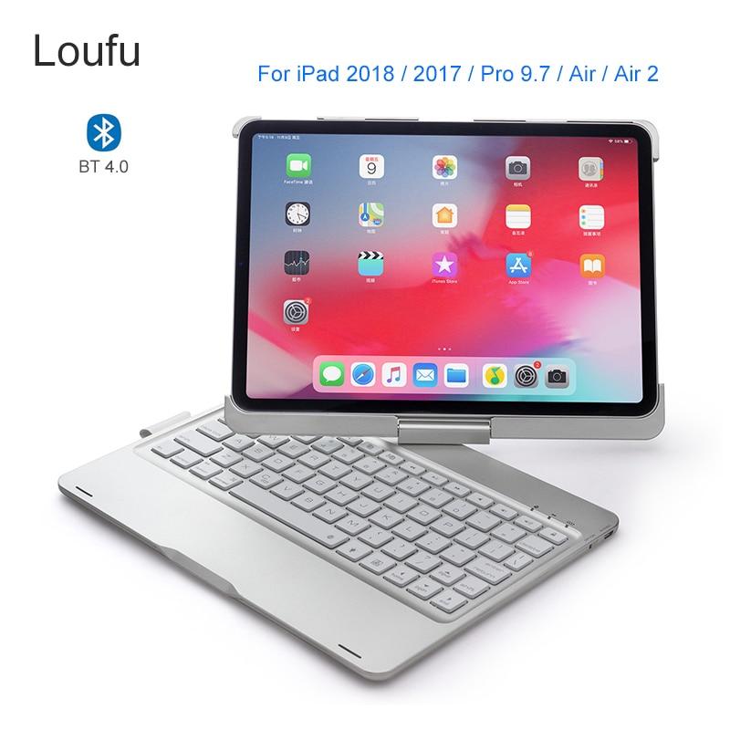 Loufu 360 degrés Bluetooth clavier pour iPad 2018 clavier étui pour iPad Air 2 couverture 7 couleurs rétro-éclairé pour iPad Pro 9.7 tablette