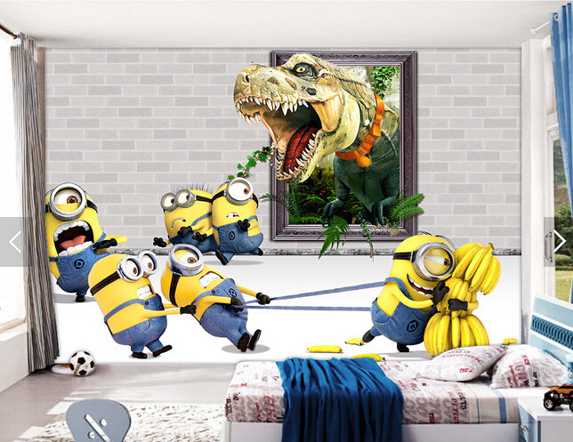 Custom animation wallpaper,Small yellow man & dinosaur cartoon mural for the children's room living room bedroom wallpaper custom baby wallpaper snow white and the seven dwarfs bedroom for the children s room mural backdrop stereoscopic 3d