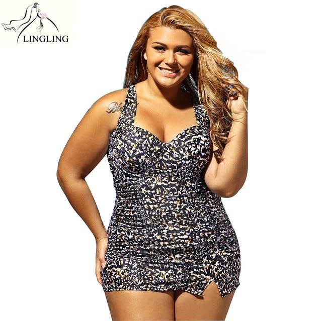 Badpak Met Ingebouwde Bh.Plus Size Dier Ingebouwde Balconette Bh Tankini Badpak Bikini Set 2