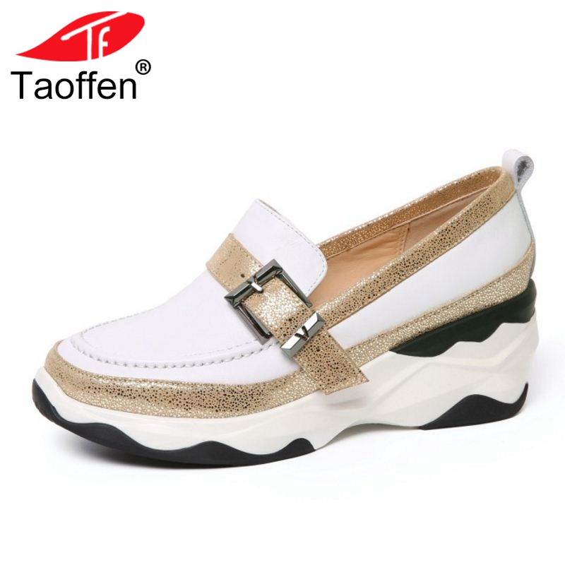 TAOFFEN Daily Women Real Genuine Leather Wedges Sneakers Woman Buckle Shine Round Toe Wedges Shoes Women Chic Pumps Size 34-39