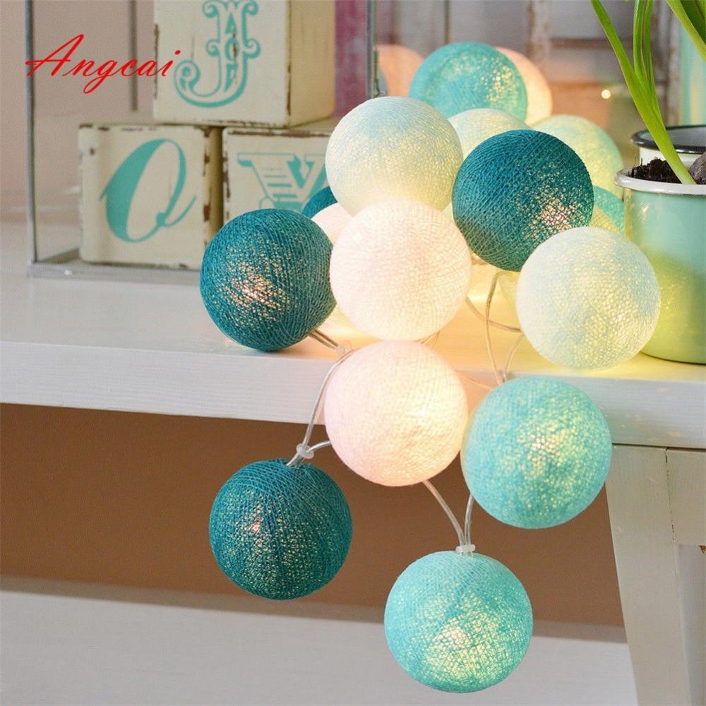 Cotton Ball Balls String Fairy Lights Garland, Wedding, Party Home Garden Decor,turquoise Mint Aqua Tone