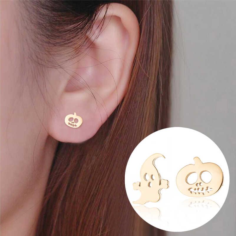 Shuangshuo น่ารักฟักทองฮาโลวีน Ghost สตั๊ดต่างหูผู้หญิงเครื่องประดับสแตนเลสต่างหูหู Studs oorbellen femme