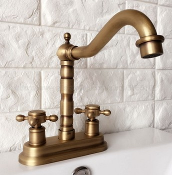 Antique Brass Double Handle Bathroom Faucet Basin Sink Tap Hot and Cold Water Mixer Tap Deck Mounted Bathroom Faucet zan066