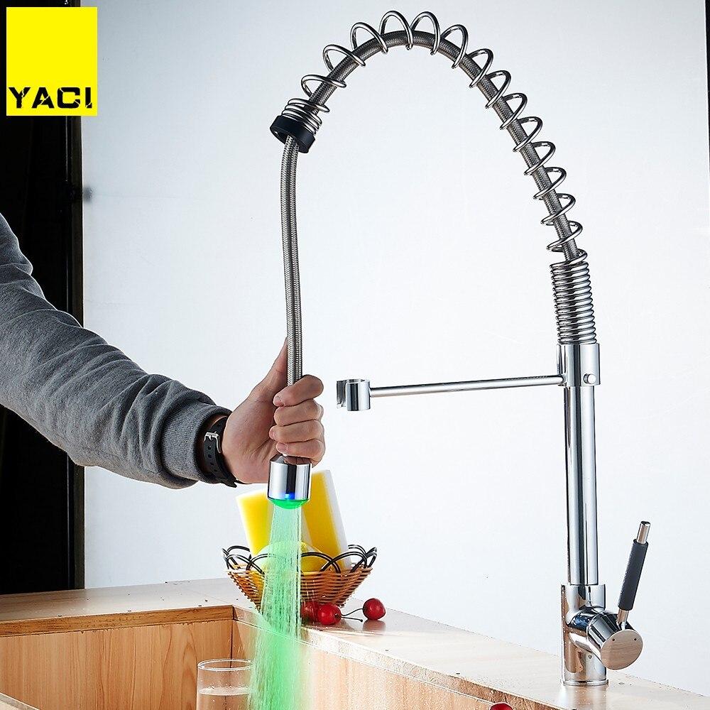 Yaci Кухня кран современные 3 цвета свет тянуть Подпушка 360 градусов вращения смеситель холодной и горячей воды хром Torneira yc8034