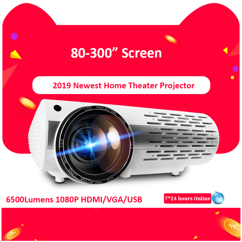 6500Lumens 1080p LED Projector Full HD LED Home Theater HDMI USB PC Video Game Home Theater