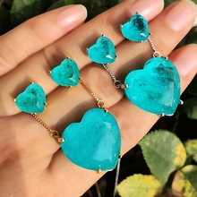 Luxury Heart Shape Jewelry Set Green blue Fusion stone Love Heart Pendant Necklace&Stud Earrings For Women Fashion party Jewelry high quality love heart pendant fashion women casual luxury necklace 2019 new jewelry